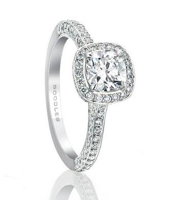 Platinum Vintage Cushion Cut Diamond Ring
